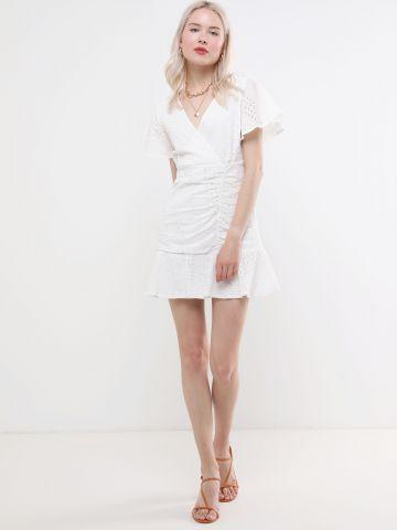 שמלת תחרה מיני עם סיומת פפלום