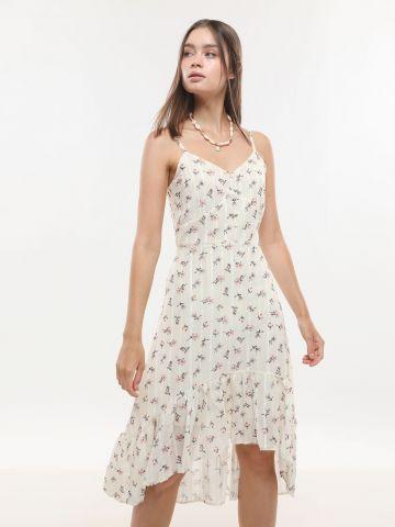 שמלת מידי אסימטרית בהדפס פרחים