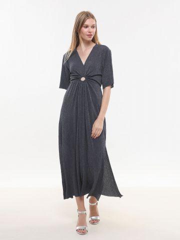 שמלת מקסי באפקט גליטר עם פתח