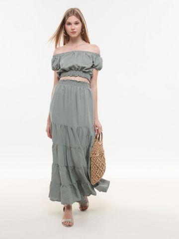 חצאית קומות מקסי חלקה