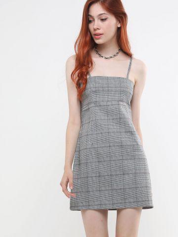 שמלת מיני בהדפס משבצות