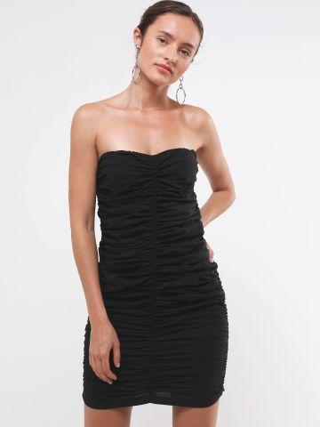 שמלת סטרפלס מיני כיווצים