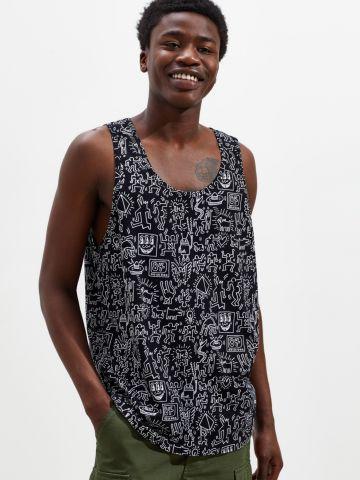 גופייה בהדפס איורים UO Keith Haring