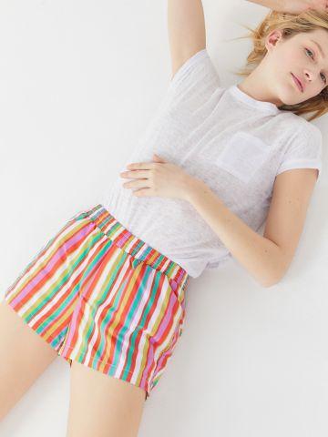 מכנסי ניילון קצרים בהדפס פסים UO
