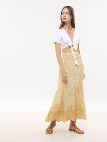 חצאית מקסי קומות בהדפס אתני