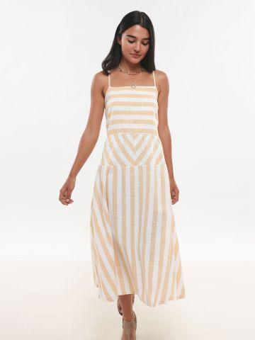 שמלת קומות מידי בהדפס פסים