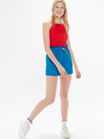 מכנסי ניילון קצרים עם מלמלה UO