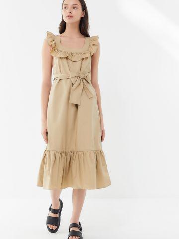 שמלת מידי פפלום עם כתפיות מלמלה UO