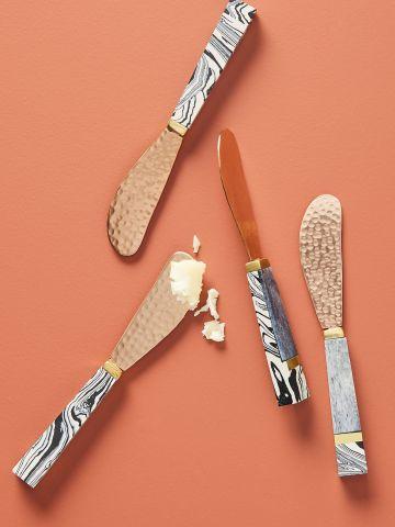 סט 4 סכיני מריחה עם ידיות מעוצבות מפלדת אל חלד