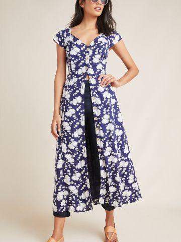שמלת מקסי בהדפס פרחים עם כפתורים Maeve