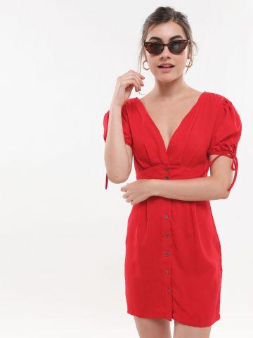 שמלת מיני מכופתרת עם שרוולים נפוחים