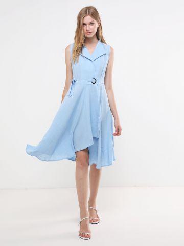 שמלת מידי מעטפת עם צווארון