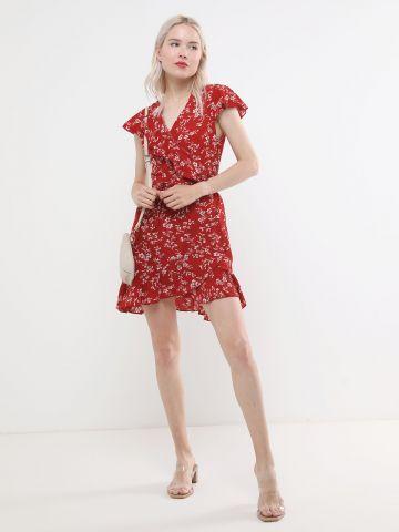 שמלת מעטפת מיני בהדפס פרחים