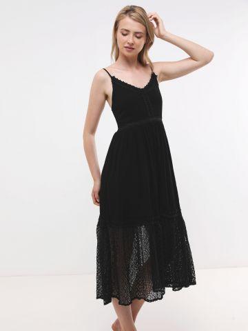 שמלת מקסי עם סיומת תחרה