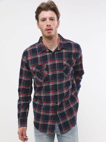 חולצה מכופתרת בהדפס משבצות עם שרוולים ארוכים