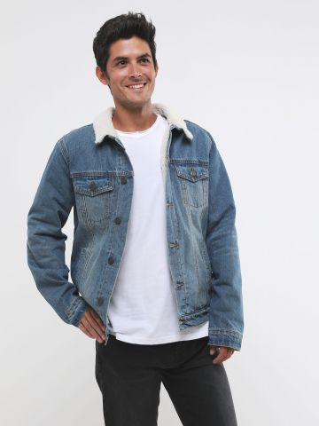 ג'קט ג'ינס עם בטנת צמר