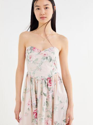 שמלת מידי סטרפלס בהדפס פרחיםUO
