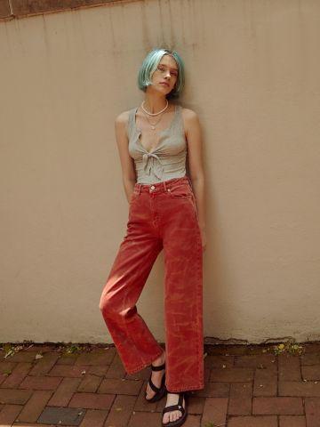 ג'ינס טאי דאי גזרה רחבה BDG
