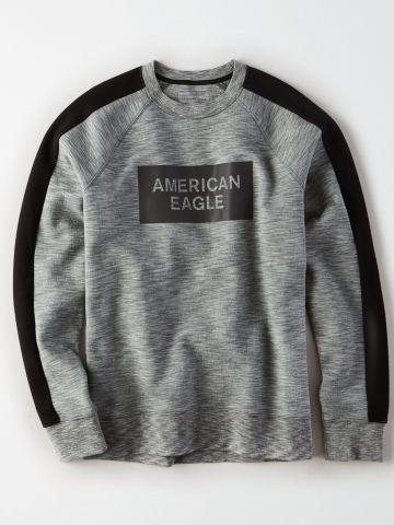 סווטשירט מלאנז' עם סטריפים ולוגו / גברים של AMERICAN EAGLE