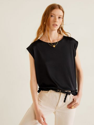 חולצת סאטן עם מפתח עגול