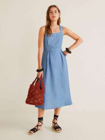 שמלת פשתן מידי עם כפתורים