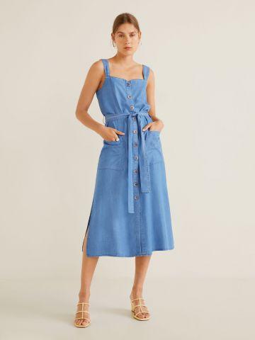 שמלת מידי מכופתרת עם חגורה קשירה