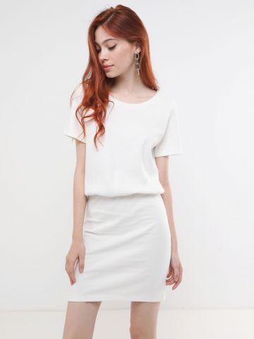 שמלת ריב מיני עם שרוולים קצרים