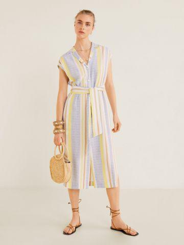 שמלת מידי מכופתרת בהדפס פסים מולטי קולור