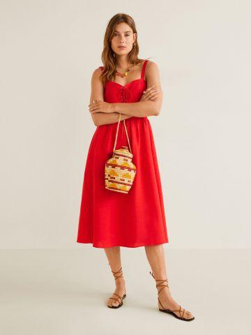 שמלת פשתן מידי עם קשירת איקסים בחזית