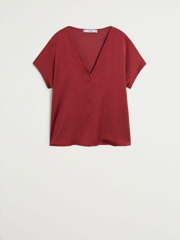 חולצת סאטן וי / נשים