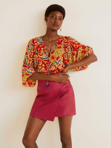 חצאית פשתן מיני בסגנון מעטפת