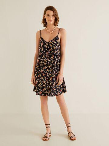 שמלת שכבות מיני בהדפס פרחים עם מפתח וי