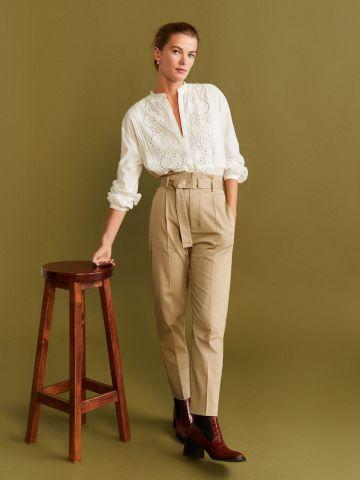 מכנסיים ארוכים עם חגורת מותן