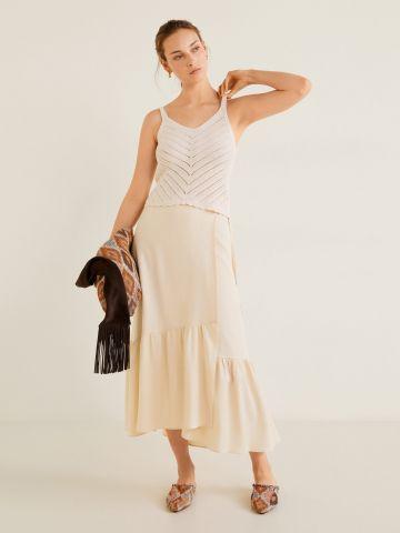 חצאית מעטפת מידי עם מלמלה בסיומת