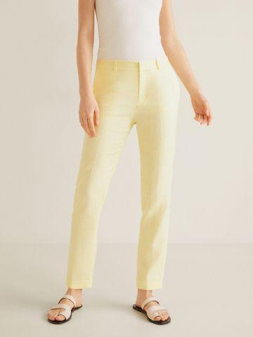 מכנסי פשתן ארוכים בגזרה ישרה
