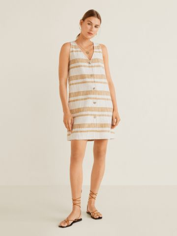 שמלת טוויד מיני בהדפס פסים