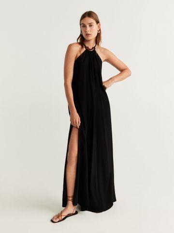 שמלת מקסי עם קולר קשירה דקורטיבי באפקט מנומר