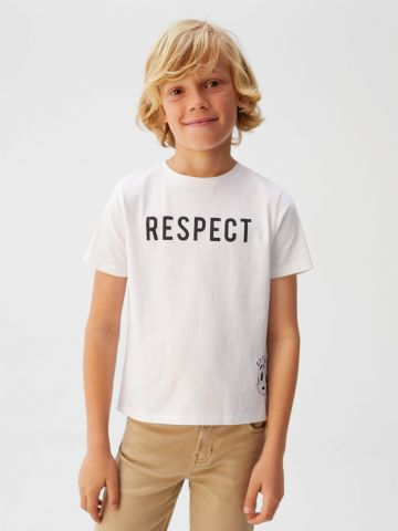 טי שירט עם הדפס כיתוב Respect / בנים