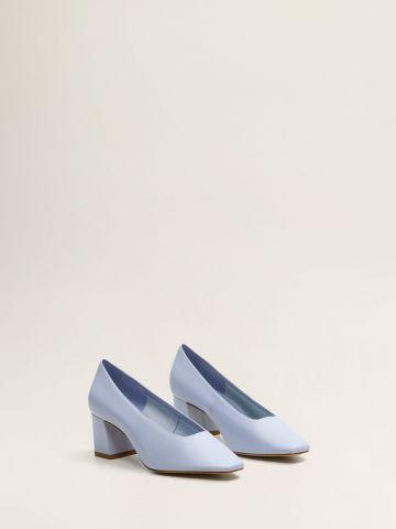 נעלי עקב עור עם חלק קדמי מרובע