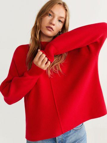 סוודר ריב עם תפרים מודגשים