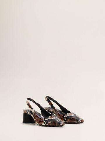 נעלי עקב דמוי עור נחש
