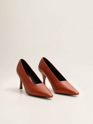 נעלי עקב סטילטו עור