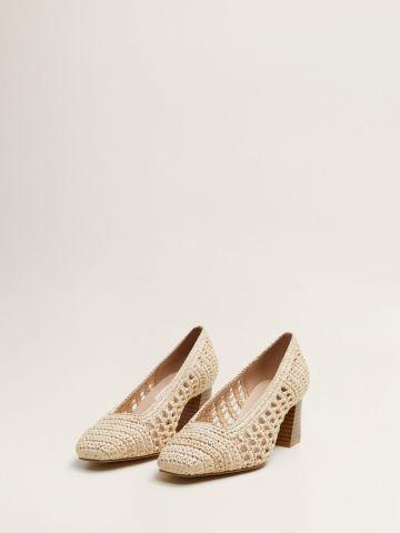 נעלי עקב קלועות