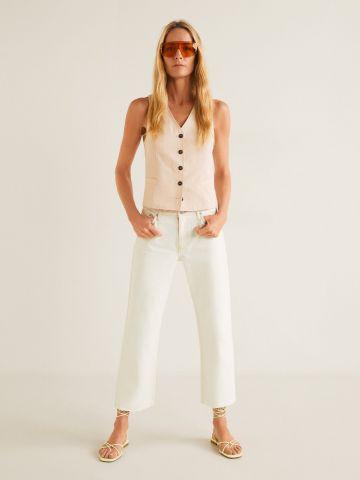 ג'ינס בגזרה רחבה עם סיומת גזורה