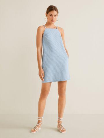 שמלת מיני ג'ינס בהדפס פסים