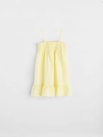 שמלה עם סיומת פפלום / בייבי בנות