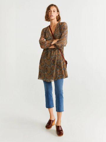 שמלת שיפון מיני בהדפס פייזלי