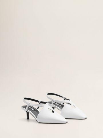 נעלי עקב סטילטו עור עם טויסט