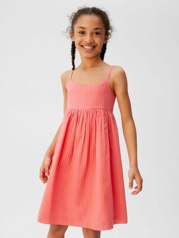 שמלת מיני בטקסטורת פסים / בנות
