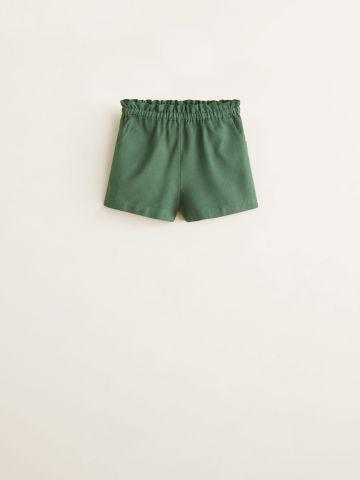 מכנסי פשתן קצרים עם גומי במותן / בייבי בנות